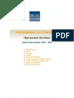 PROGRAMME Concours Epreuves Ecrites