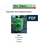 Angry Birds Green Pig Beanie Pattern