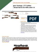 Crosman Remington Vantage .177 Caliber Hardwood Stock Break Barrel Air Rifle With 4 X 32mm Scope