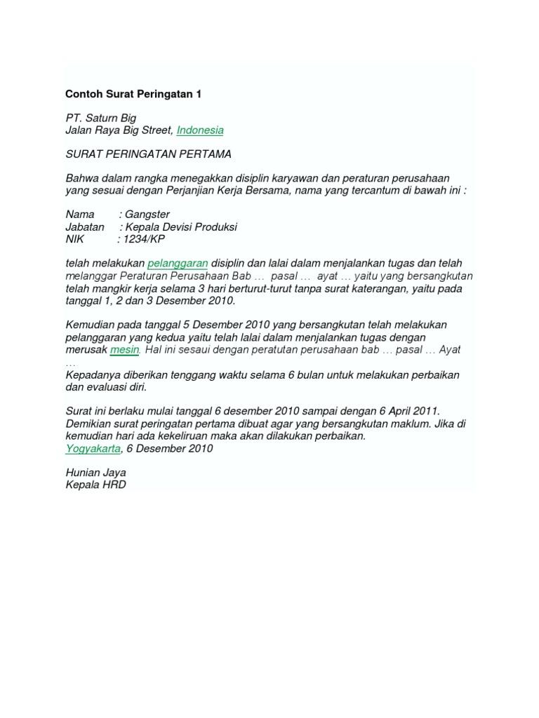 contoh surat peringatan 1