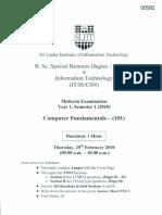 Mid semester exam - Computer Fundamentals - (101) - SLIIT