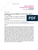 Consumer Awareness and Willingness to Pay for Organic Vegetables in South West Nigeria.