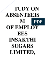 A Study on Absenteeism Of