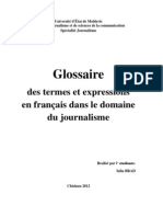 Glossaire des termes et expressions en français dans le domaine du journalisme