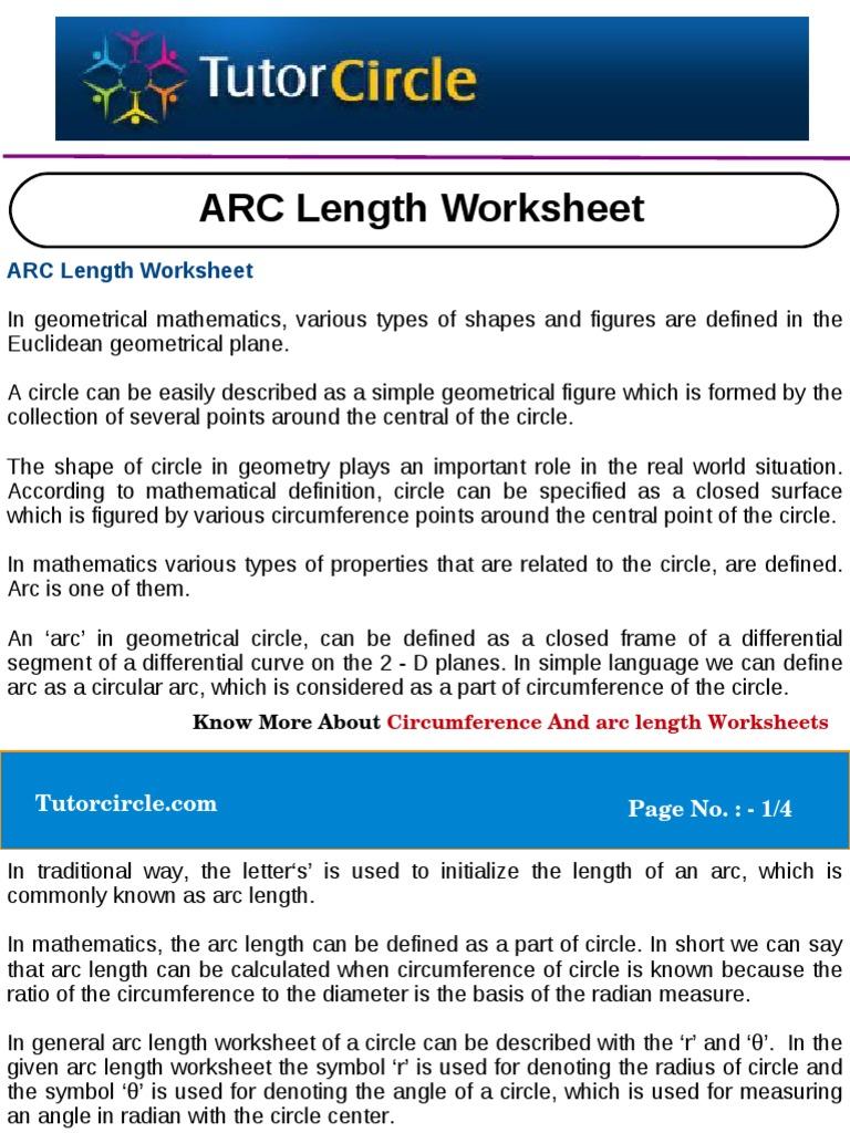 ARC Length Worksheet Circle – Circumference of a Circle Worksheet