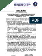 Pengumuman Pemanggilan Cadangan Sipenmaru Jalur PMDP TA. 2012-2013 Gel 2- 31 Mei 2012