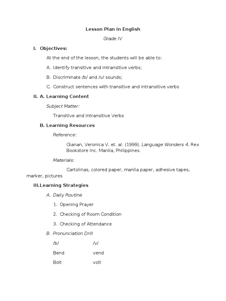 Lesson plan in grade 4 english verb escalator robcynllc Image collections