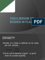Equilibrium of Bodies in Fliud