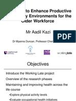Health and Wellbeing @Work 2012 Aadil Kazi Presentation