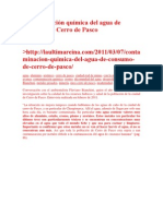 Contaminación química del agua de consumo de Cerro de