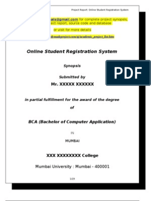 Online Registration Synopsis Rmp | Microsoft Access | Data