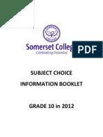 Senior Grade Subject Choices Form