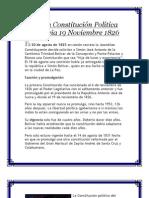 Primera Constitución Política De Bolivia 19 Noviembre 1826