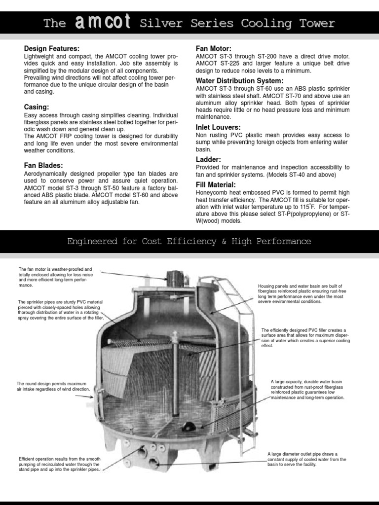 Amcot Cooling Towers 1 Pdf Pipe Fluid Conveyance Propeller