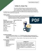 Coffee Green Tea Sports Nutritional Handouts