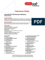 CADsoft Consulting Course Outline - AutoCAD 2012 3D Drawing & Modeling