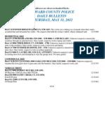 Police Daily Crime Bulletin 20120531
