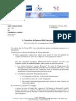 lettre de réponse à la mutualité française
