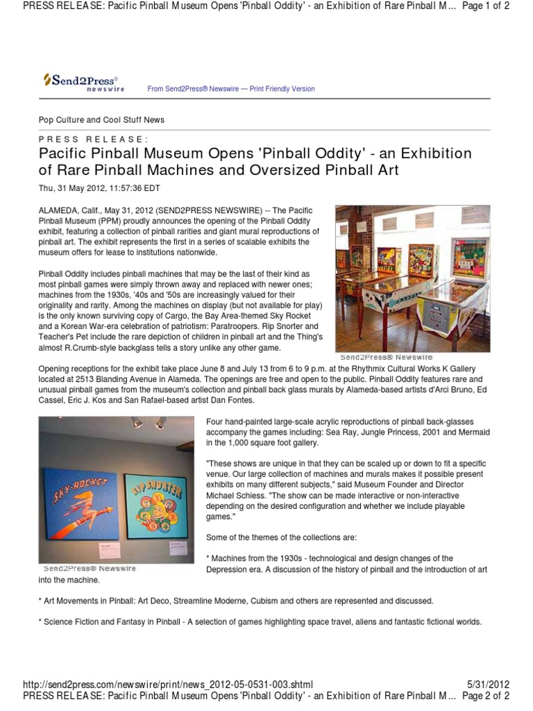 Pacific Pinball Museum Opens \'Pinball Oddity\' - An Exhibition of ...