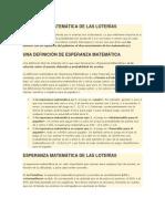 ESPERANZA MATEMÁTICA DE LAS LOTERÍAS