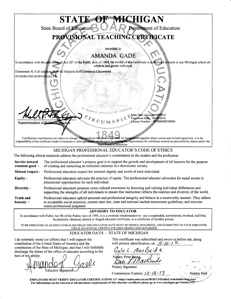 teaching certificate signed | Virtue | Government Information