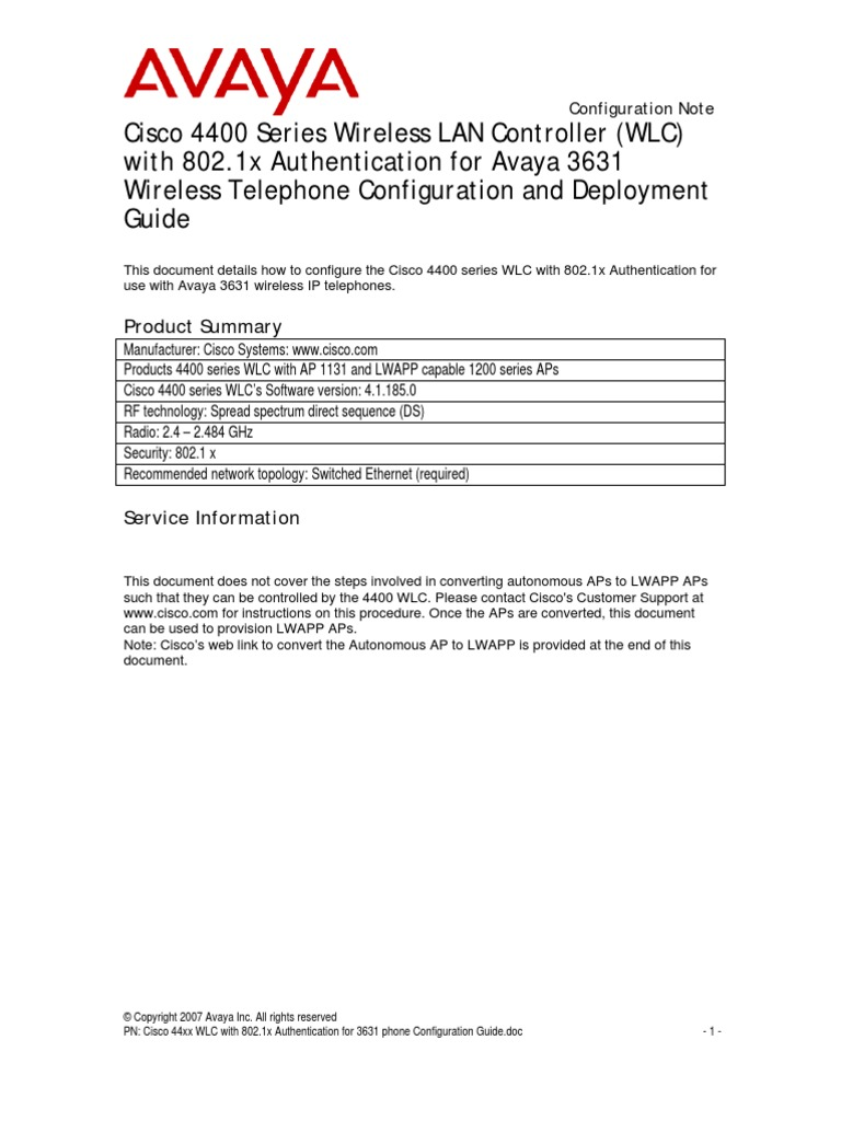 Cisco 4400 Series Wireless Lan Controller Wlc With 8021x Using Diagram Authentication For Avaya 3631 Telephone Configuration And Deployment Guide