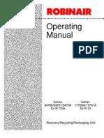 Robinair 17700 34700 Operation Manual