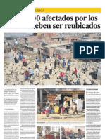 Unos 1.800 afectados por los huaicos deben ser reubicados