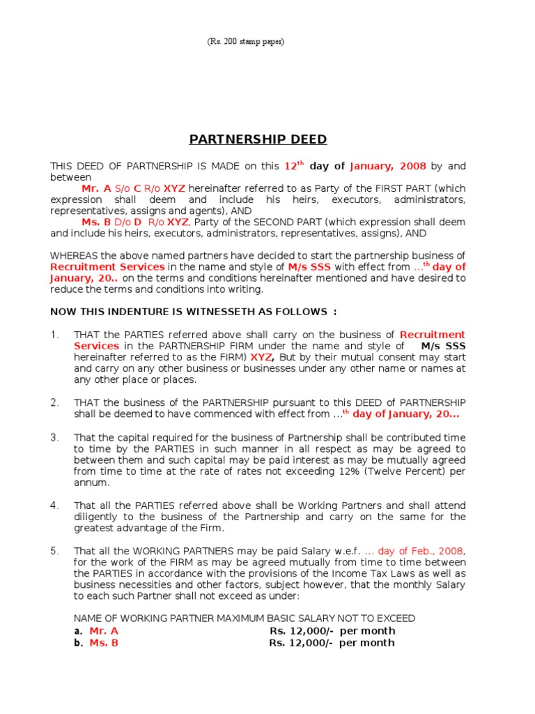 Sample partnership deed partnership crime justice altavistaventures Image collections