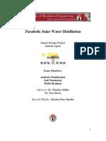 Solar Water Distillation 490A Final Report