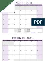 Blank 2011 Monthly Calendar Purple Landscape