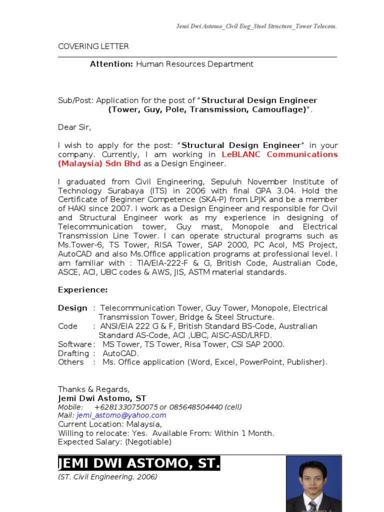 New Resume Cover Letter Structural Engineer 4 Yr Exp Tower Structure Designer Jakarta Telecommunication,Longarm Quilting Designs
