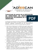ADIESCAN (ASOCIACIÓN DE DIRECTORES DE CANTABRIA) NOTA DE PRENSA