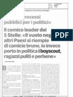 Intervista a Beppe Grillo sul Magazine del Corriere 1 Giugno 2012