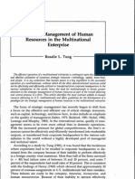 Strategic Management of Human Resources in the Multinational Enterprise