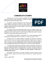 Comunicato Stampa Per Dichiarazioni Sindaco Tp Damiano