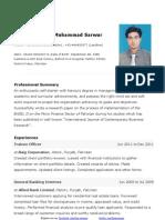 Atif Sarwar CV