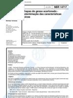Nbr 14717 - Chapas de Gesso A Carton Ado - Determinacao Das Caracteristicas Fisicas