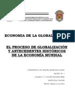 EL PROCESO DE GLOBALIZACIÓN Y ANTECEDENTES HISTÓRICOS DE LA ECONOMÍA MUNDIAL