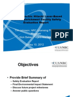 ML12129A474 - General Electric Hitachi Laser-BasedUranium Enrichment Facility Safety Evaluation Report