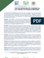 PRONUNCIAMIENTO DEL PACTO DE UNIDAD SOBRE LOS ACONTECIMIENTOS DE ESPINAR Y CAJAMARCA