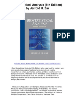 Bio Statistical Analysis 5th Edition by Jerrold H Zar - Hands Down Best Statistics Text