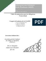 ASSÉ - Cahier de préparation pour les délégations - Congrès de fondation de la CLASSE - 3 et 4 décembre 2011