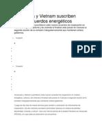 Venezuela y Vietnam suscriben nuevos acuerdos energéticos