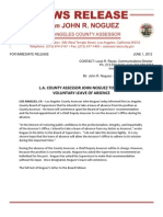 L.A. COUNTY ASSESSOR JOHN NOGUEZ TO TAKE  VOLUNTARY LEAVE OF ABSENCE