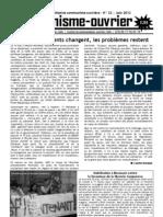 COMMUNISME-OUVRIER N°22, Initiative communiste-ouvrière, Bulletin du 1er juin 2012.