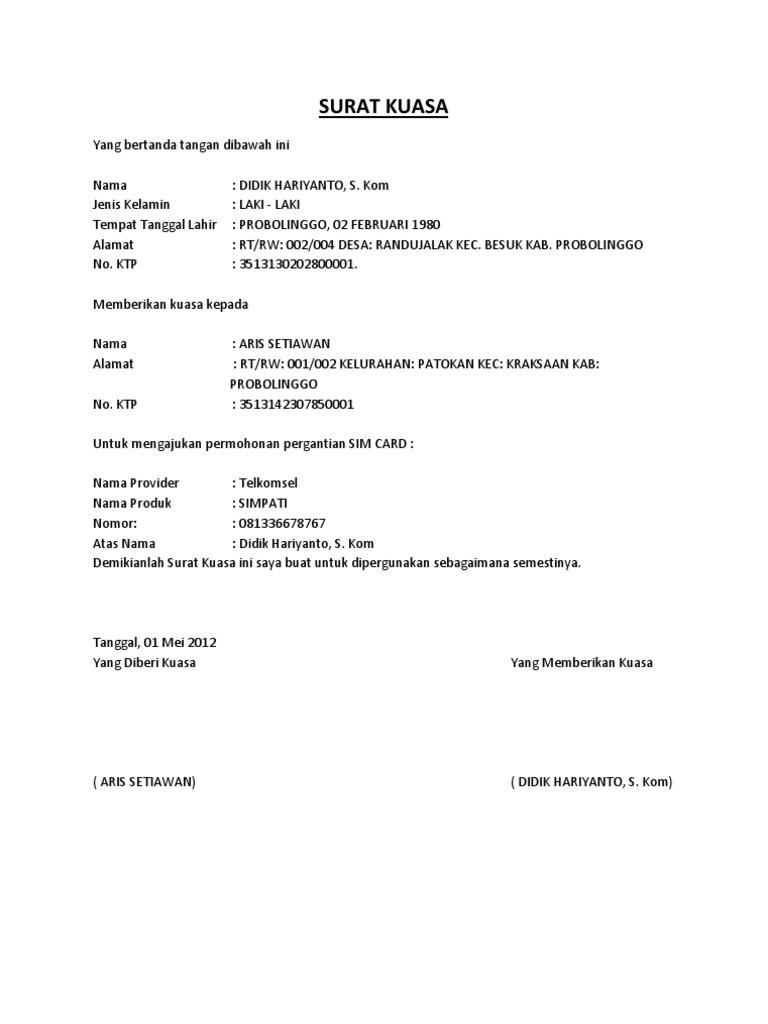 Contoh Surat Kuasa Balik Nama Telkom Contoh Surat