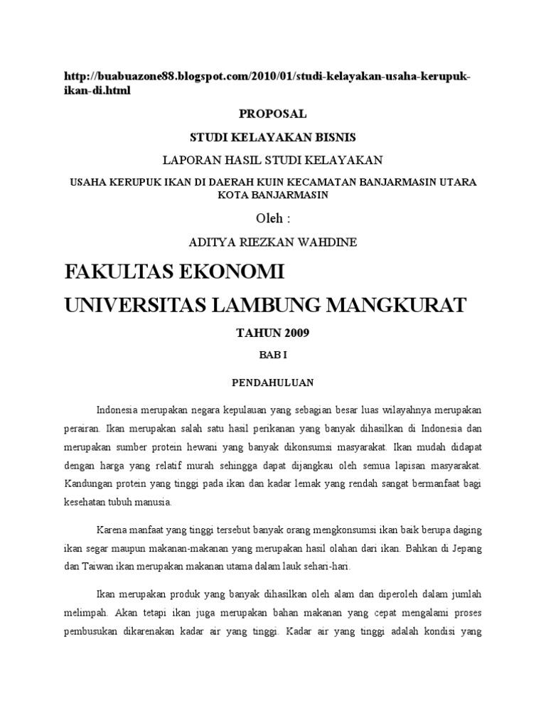 Contoh Proposal Usaha Kerupuk Ikan Contoh Proposal Usaha Download