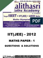 IIT(JEE) - 2012 Paper - 1 Solutions