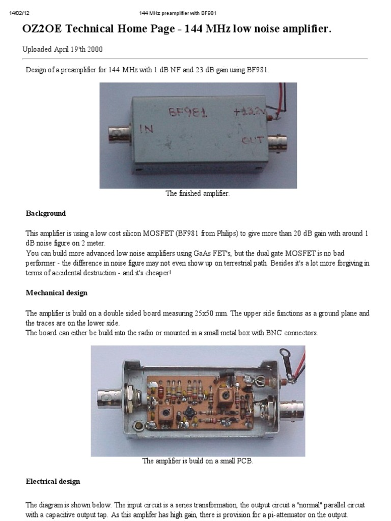Oz2oe 144 Mhz Pre Amplifier With Bf981 Electrical Components 144mhz Power Circuit Analog Circuits